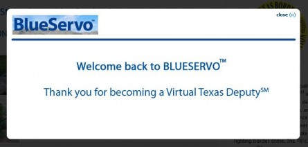 """Screenshot: """"Welcome back to blueservo"""""""