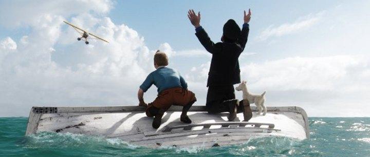 Tim, Haddock und Struppi. Rettungsboot kieloben.